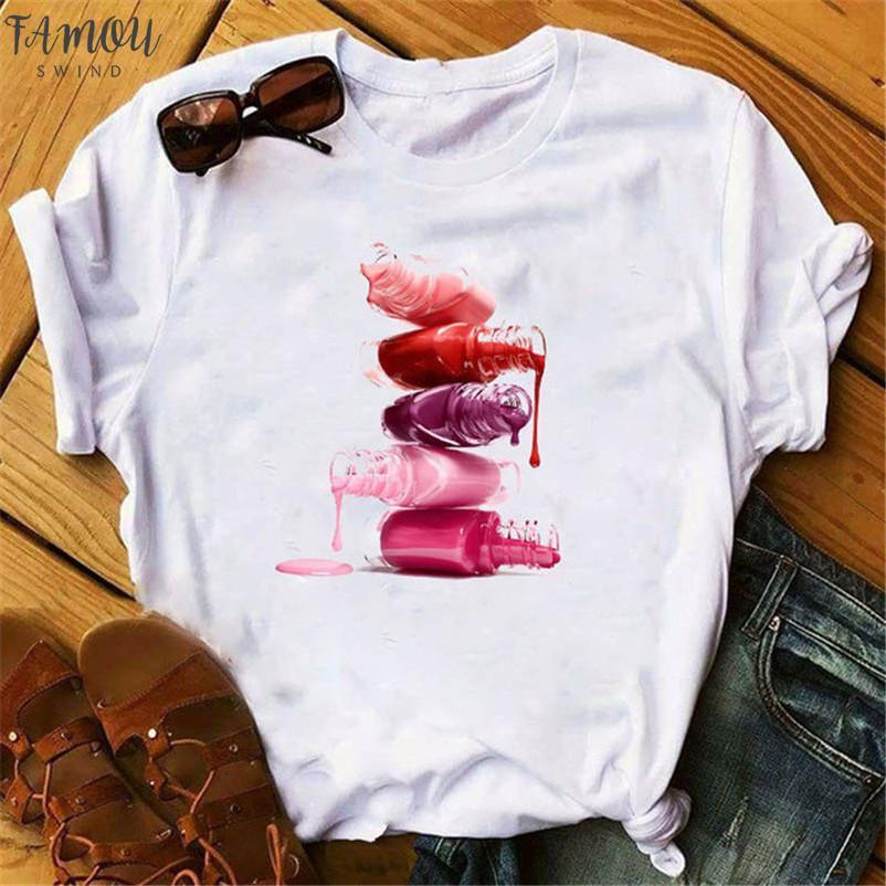 Colorful Nail Polish Printed 3D Women T Shirt Vogue Summer Tee Shirt Femme Tops Tshirt Casual Female Clothes Tops