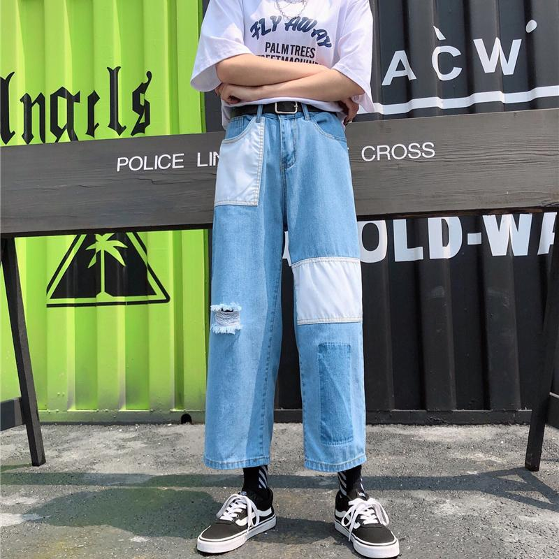 Harajuku calça jeans vintage woman calça jeans solta reta de cintura alta Plus Size elegantes senhoras verão streetwear jean denim