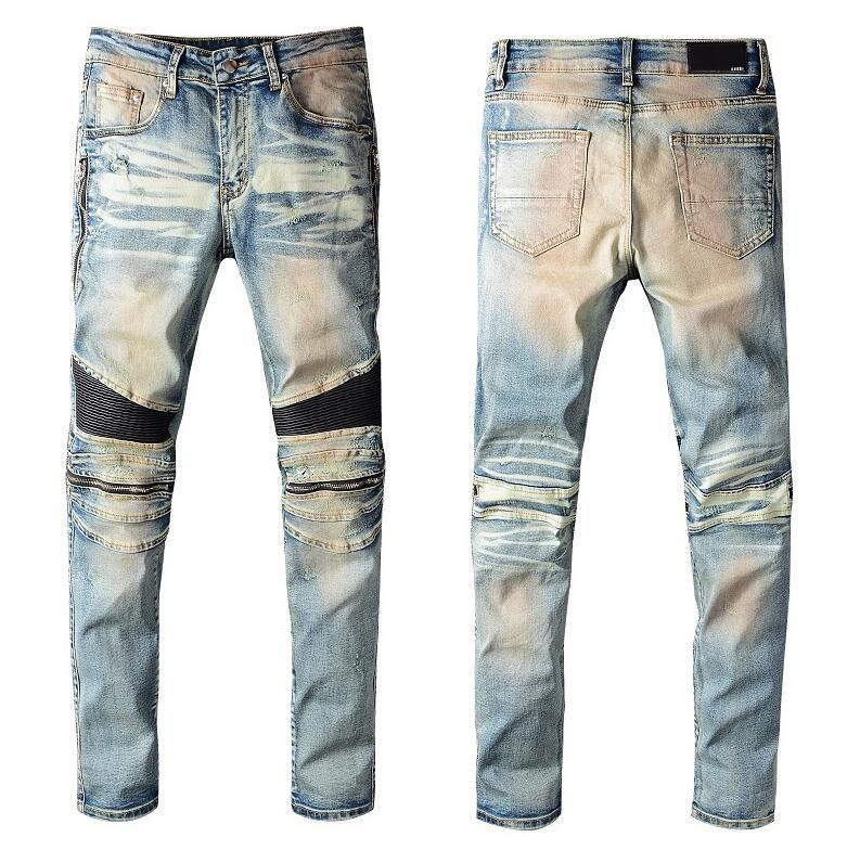dos homens Motociclista Blue Jeans Zipper buracos desenhado Magro Denim Trousers Hip Hop Pants Tamanho 28-38 de alta qualidade, # A2