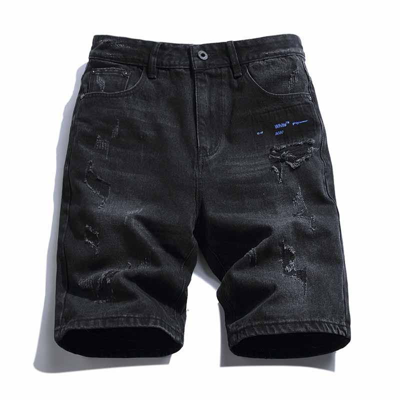 20SS мужские дизайнерские джинсовые шорты высокое качество OFF 100% хлопок письма градиент стрелка печати изношенные модные уличные повседневные роскошные шорты