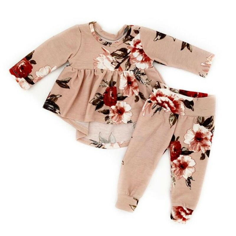 Cute Newborn Baby Girl 2PCS Autumn Clothes Set Long Sleeve Floral Dress Pants Baby Outfits