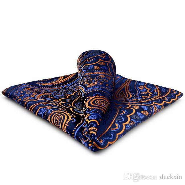 QH8 chusteczka Paisley Orange Blue Black Pocket Square Męskie Krawaty Jacquard Woven Hanky