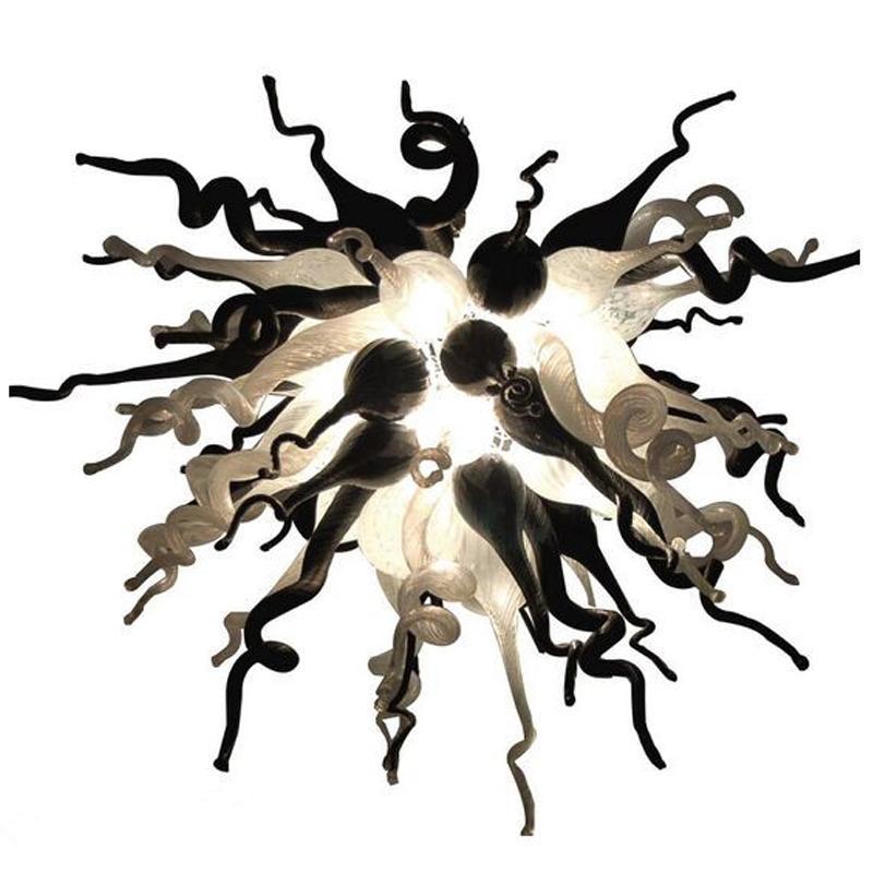 Lâmpadas Pingente Branco e Preto Lustre Chandelier Iluminação Murano Chandeliers Art Deco LED House Decoração Sala de estar E27 Pingente de vidro soprado-Light-L
