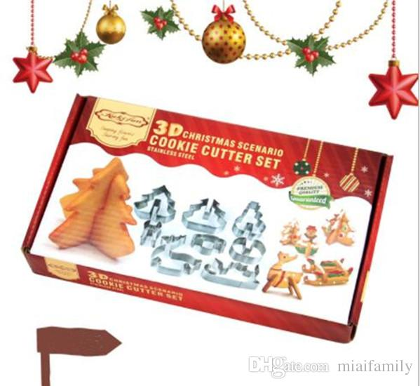 3D DIY stainless steel cookie mould Double sugar cake pan Christmas theme metal cake cutters mould 8 pcs/set Epacket