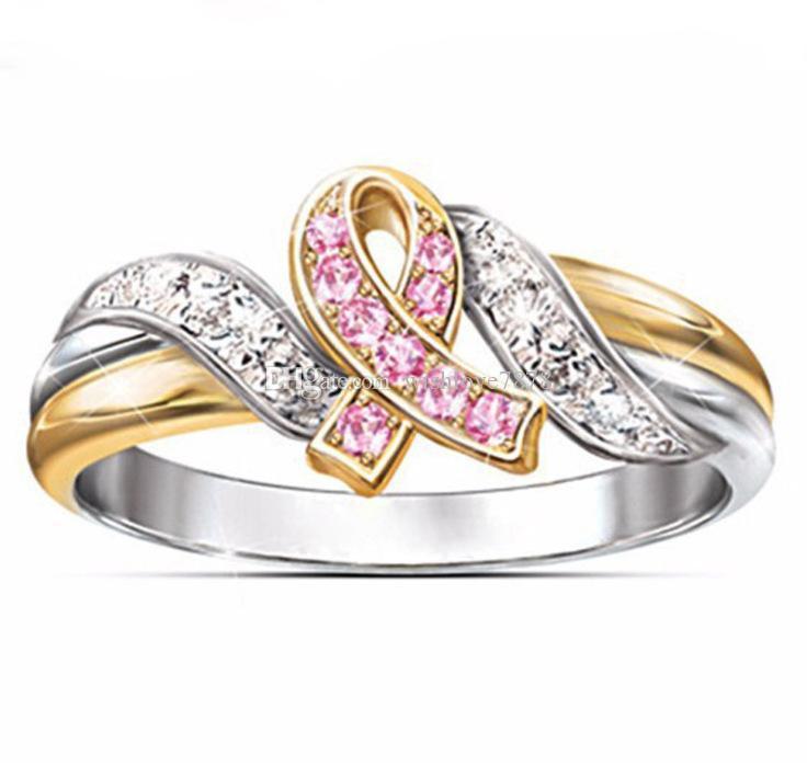 다이아몬드 패션 중공 리본 골드 도금 링 새로운 보석 스털링 실버 손가락 반지