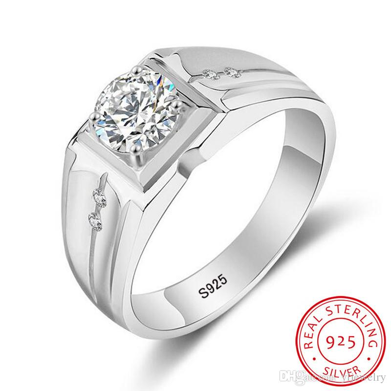 50% OFF! Original Luxury 1 ct SONA CZ Zircon Wedding Engagement Rings for Man 100% Solid 925 Sterling Silver Rings Jewelry Wholesale M017