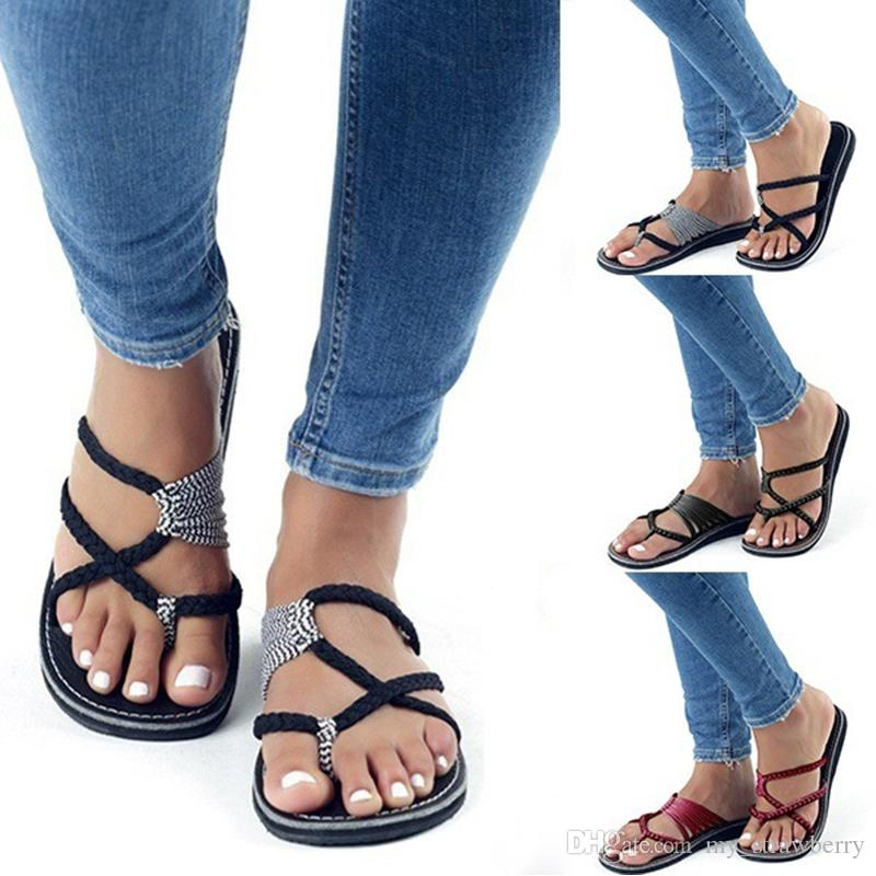 Women Beach Pin Toe Flat Sandals Flip-flops Slippers Straps Flat Shoes Casual Beach Slippers Plus Size 35-43