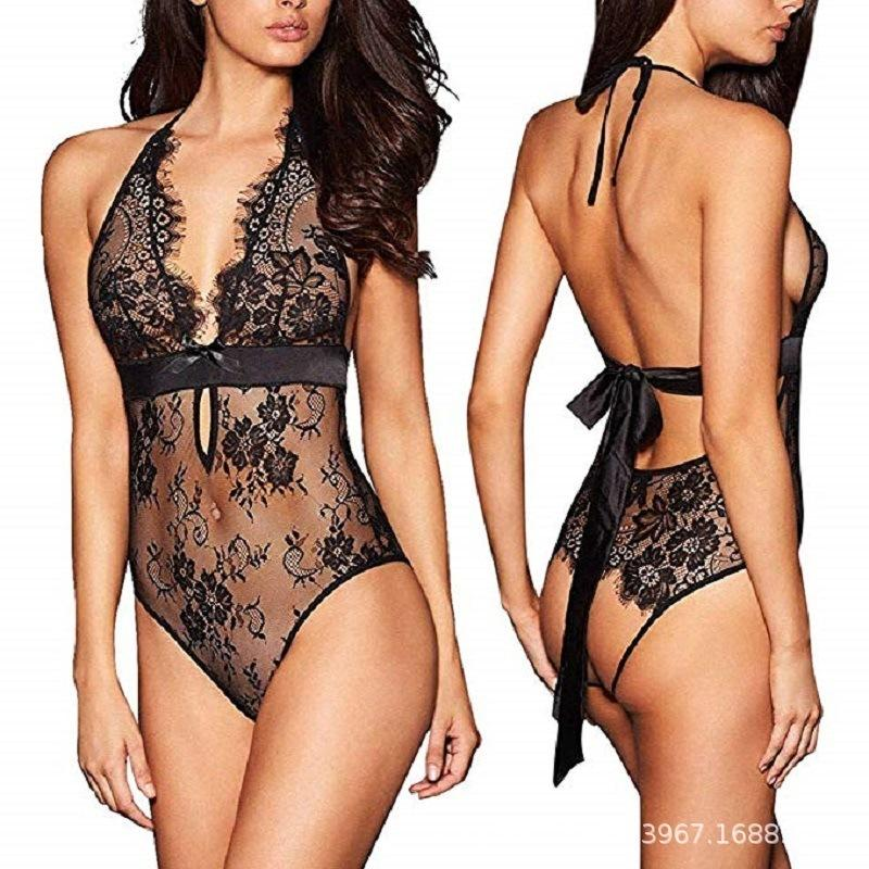 M-3xl Perspective Lace Sex Dress Women Sexy Lingerie Hot Plus Size Erotic Underwear Halter Porno Lenceria Sex Babydoll Costumes Y19070402