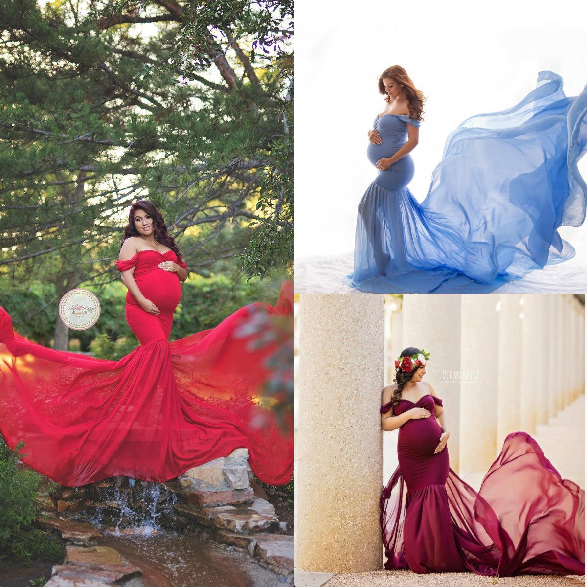 Red Cotton Chiffon Pregnant Women Bathrobe Sexy Kimono Party Sleepwear Women Bathgowns Off The Shoulder Nightgown Robe