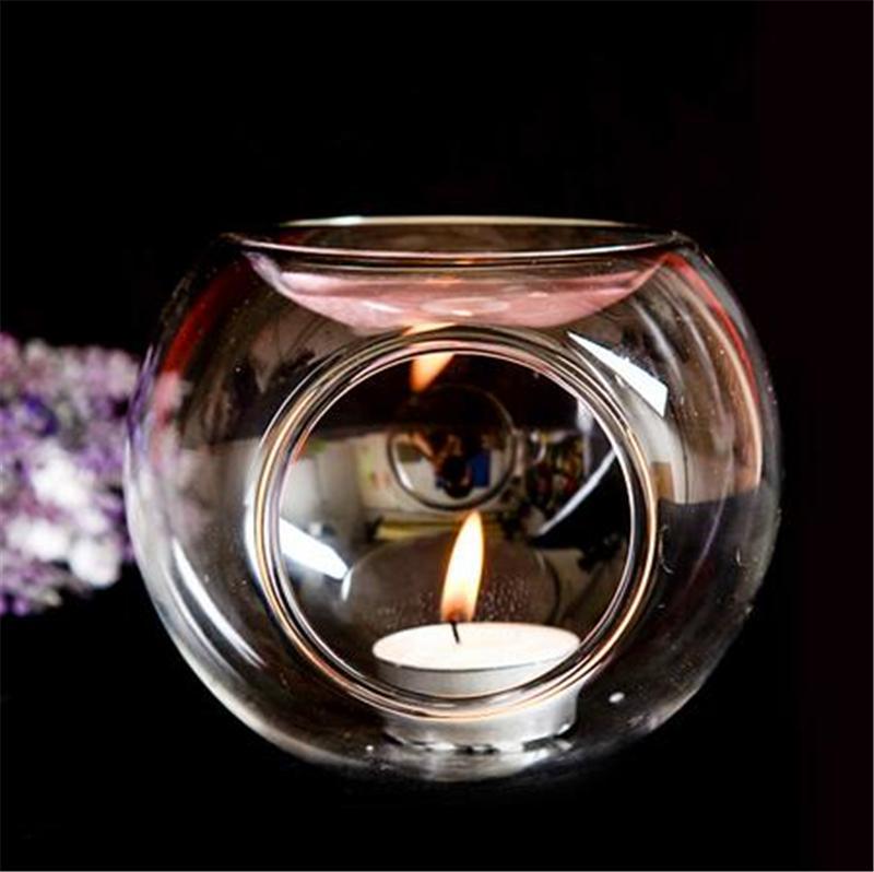 2 حجم الكرة زيت التدفئة حامل الزجاج والكريستال شمعة البيت العطر أساسي مبخرة زجاج الشاي ضوء شمعة حامل اليدوية رومانسية