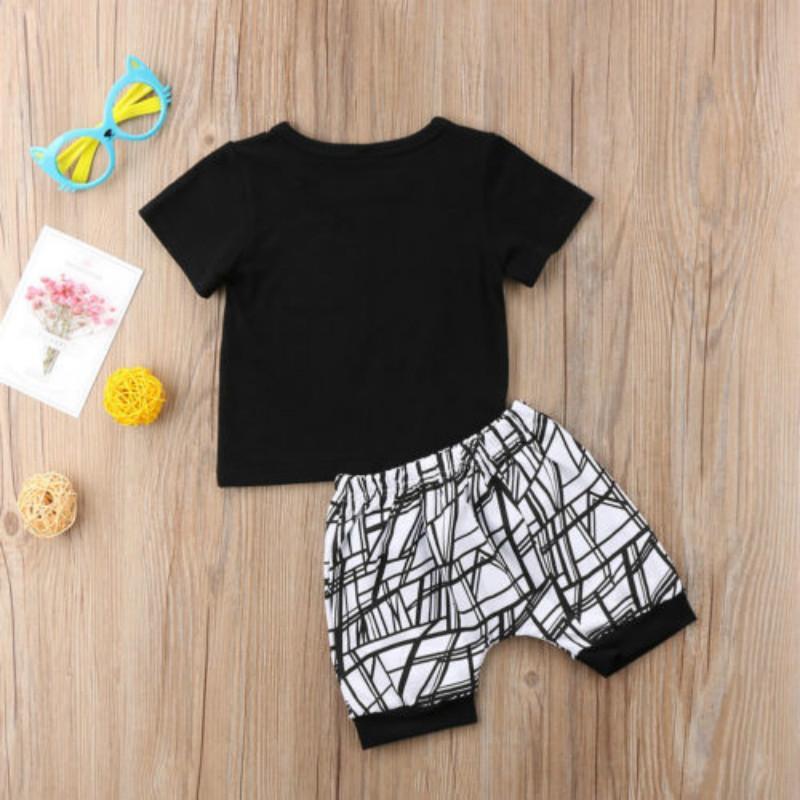 Pudcoco Moda Yenidoğan Bebek Erkek Bebek Bebek Pamuk Blend Harf MAMAS BOYS tişört Tops + Pantolon yazdır Kıyafet Giyim 0-24M