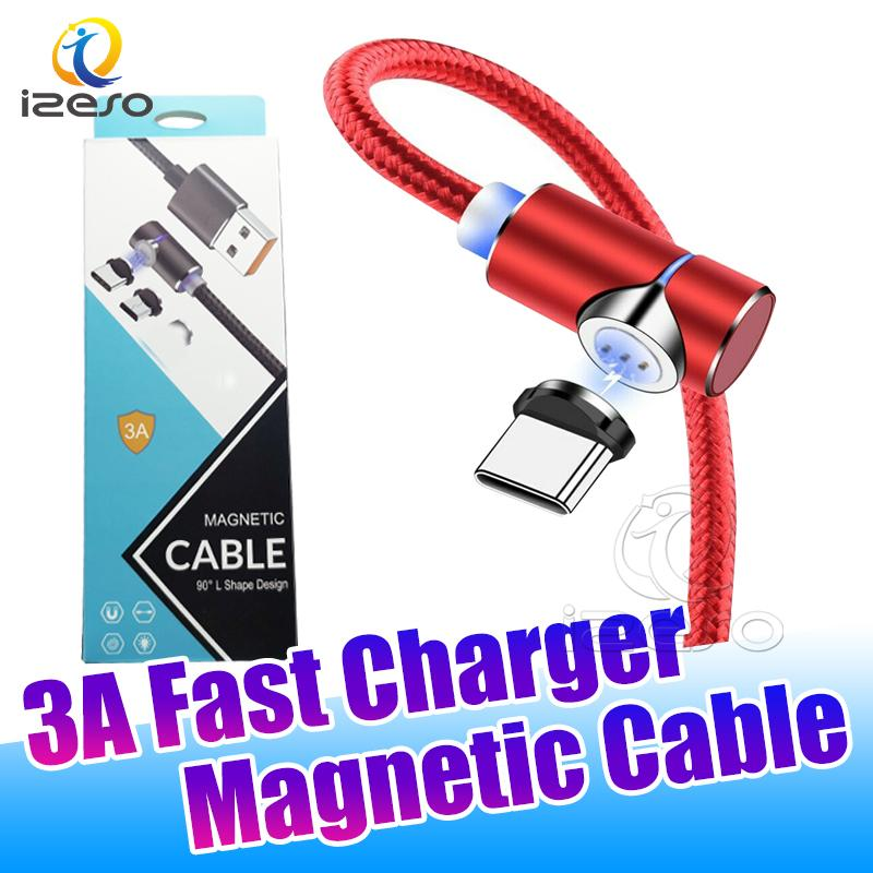 Fast Charger Type C Data Sync Cable L Shape Nylon Braided Magnetic Quick Chargers Micro V8 USB Charging Cord with Retail Packaging izeso