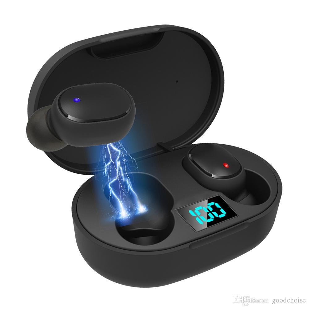 E6S TWS 블루투스 5.0 무선 이어폰 LED 사업 스테레오 헤드폰 미니 스포츠 이어폰 게임 헤드셋 PK A6S 헤드셋