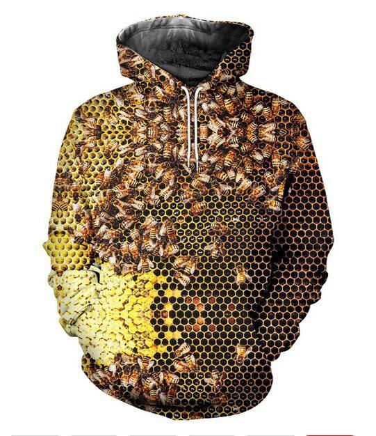 2020 New Fashion Sweatshirt Men / Women Hoodies insect Bee Funny Print 3d Sweatshirts Free Shipping AA0203