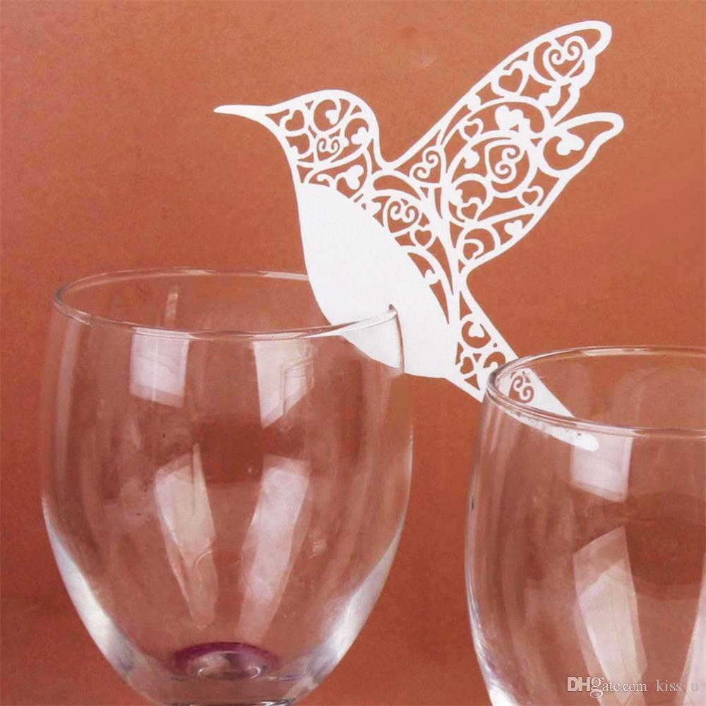 Segnaposto Matrimonio Uccelli.Acquista 100 Pz Fai Da Te Segnaposto Volanti Uccelli Bicchieri Di
