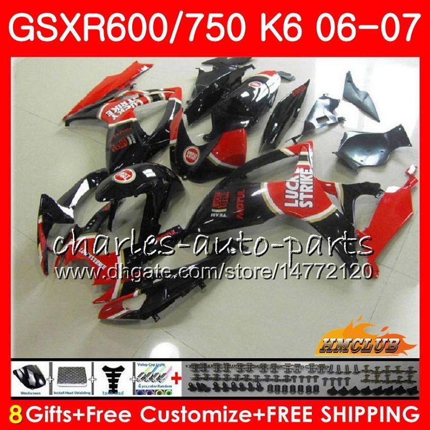 Lichaam voor Suzuki Lucky Red Stock GSX R750 GSX R600 GSXR 600 750 GSXR750 06-07 8HC.90 GSXR-750 GSX-R600 K6 GSXR600 06 07 2006 2007 Fairing Kit