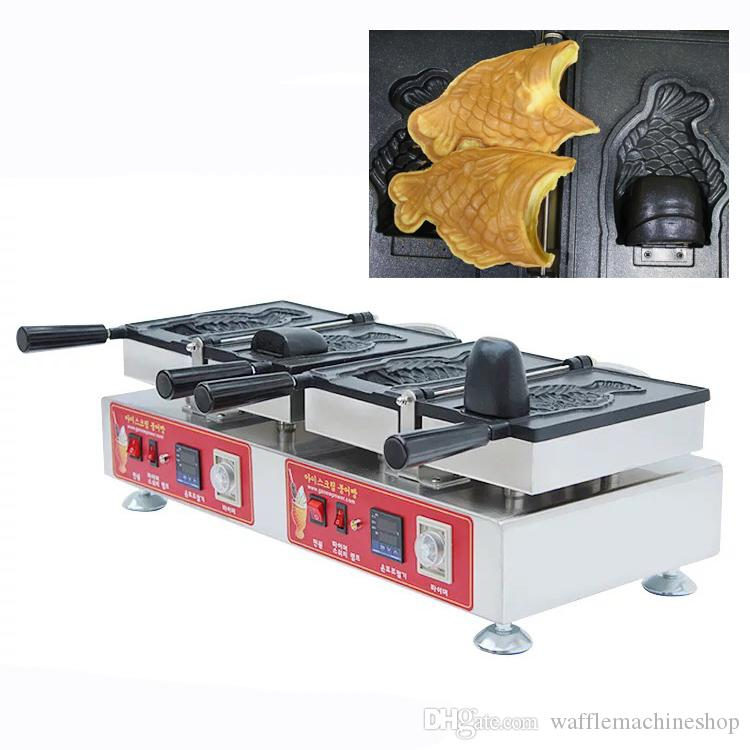 Ticari Dijital Açık Ağız Taiyaki Makinesi Büyük Ağız Dondurma Balık Waffle Maker 2 adet Dondurma Taiyaki Pan NP-705