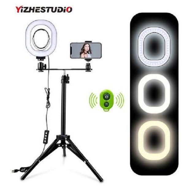 2020 Nuovo Yizhestudio 2 in 1 anello LED Kit di illuminazione Foto lampada per la lampada Live Video Youtube selfie con Bluetooth treppiede telefono tenere