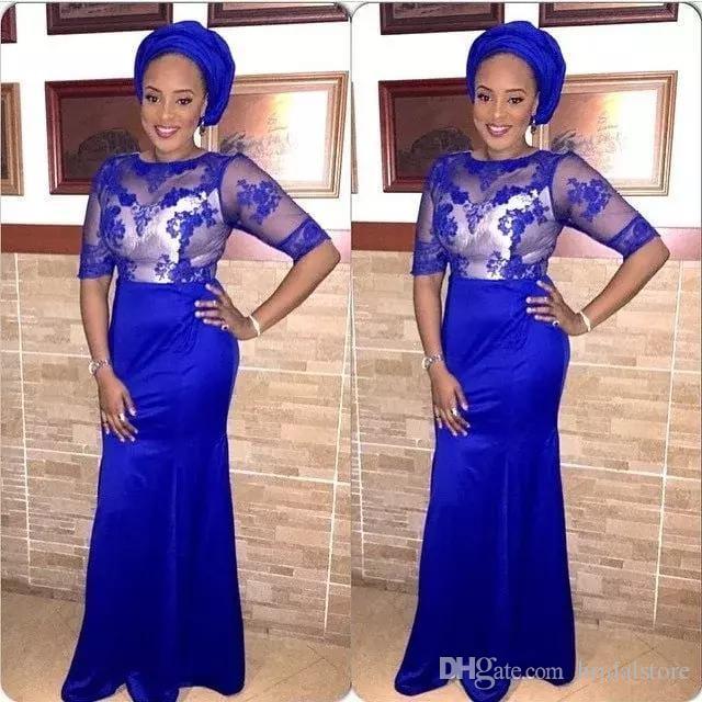 последние стили aso ebi африканских пром платья с короткими рукавами jewel декольте оболочка синий вечерние платья 2019 кружева платья вечерняя одежда