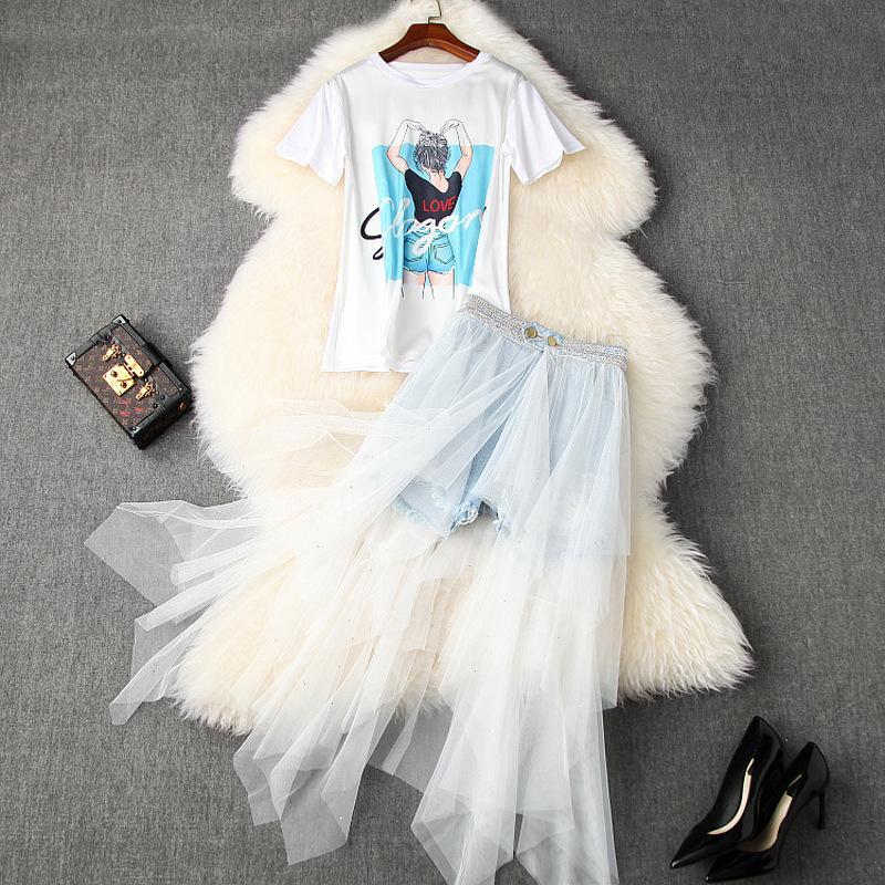 2020 весна лето с коротким рукавом круглый вырез белый принт футболка + тюль панелями асимметрия шорты юбка из двух частей 2 шт набор LA24T10767