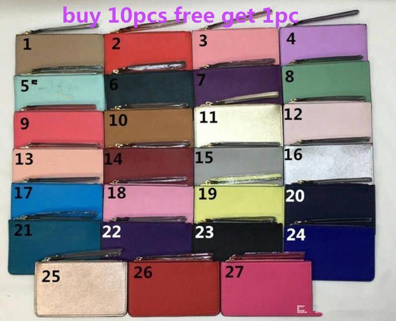 cheap women leather wallets wristlet women purses clutch bags zipper Card bag colorful 27 color