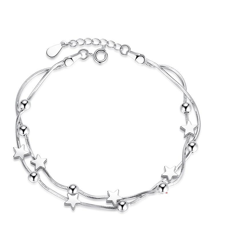 K24 Fashion S925 Silver Bracelet Classic Pentagram Square Beads Korean Fashion Silver Bracelet Girls Hand Jewelry