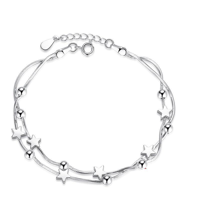 Jóias K24 Moda S925 pulseira de prata clássico do Pentagram Praça Beads coreano Moda Pulseira de Prata Meninas Mão