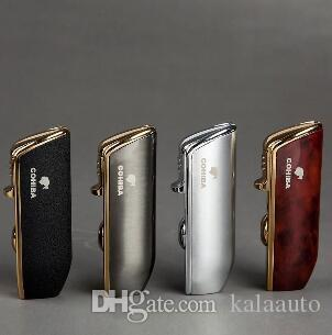 2019 New Arrival Wholesale COHIBA Accessories Pocket Quality Metal Snake Mouth Shape Butane Gas Windproof 3 Torch Jet Flame Lighter W Punch