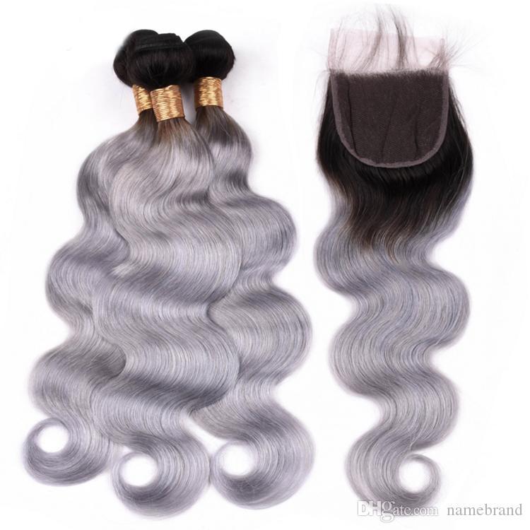 Silver Grey 1B / gris Ombre Cheveux humains 3 Bundles avec fermeture en dentelle 4x4