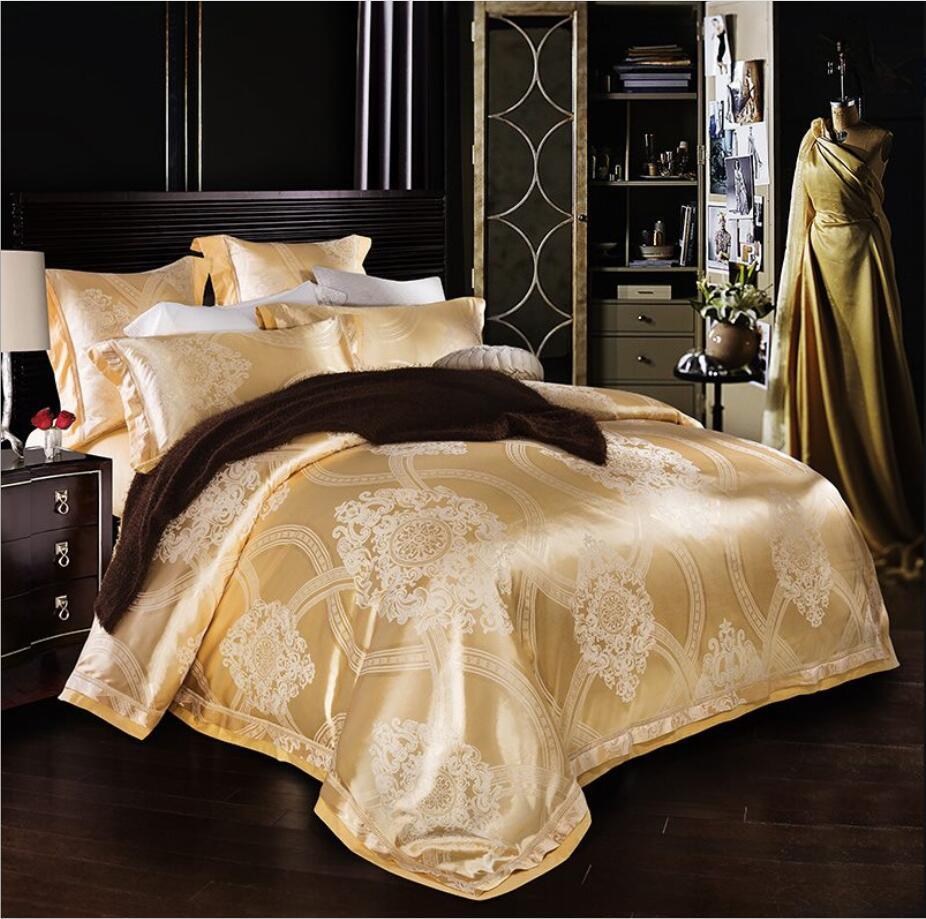 ensembles de literie or jacquard en satin de luxe 4 / 6pcs soie / couverture lit en coton lit queen king housse de couette drap de lit lin textile Accueil literies