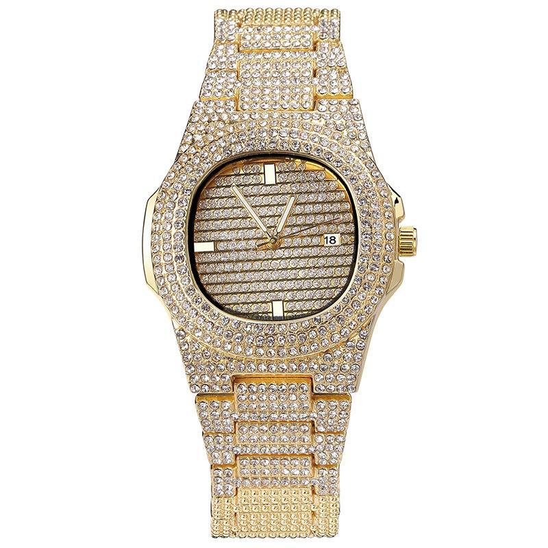 Hommes Montres Haute Joaillerie Qualité Glacé Montre de diamant d'or montre pour homme Montre-bracelet Relogio Masculino