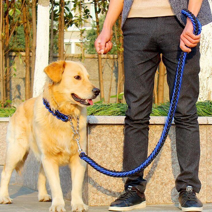 Filamento doble cuerda grande cadena del perro Correas de metal P hebilla Nacional del color de la tracción del animal doméstico cuerda anillo de ajuste para los perros grandes de 1,2 m Longitud