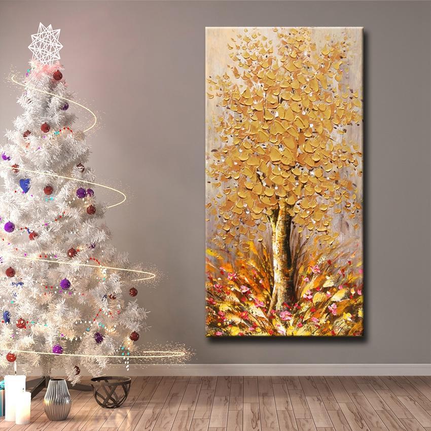 De haute qualité belles fleurs d'arbres et de couleur or Résumé Pop Peinture à l'huile sur l'image de l'art mural toile à la main