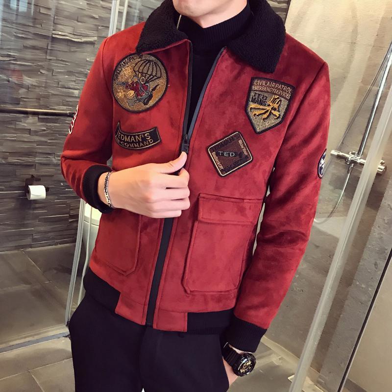 Gruesa capa de gamuza para hombre de las chaquetas para hombre del cuello de la piel de color caqui Erkek invierno Slim Fit Parka terciopelo bombardero chaquetas piloto