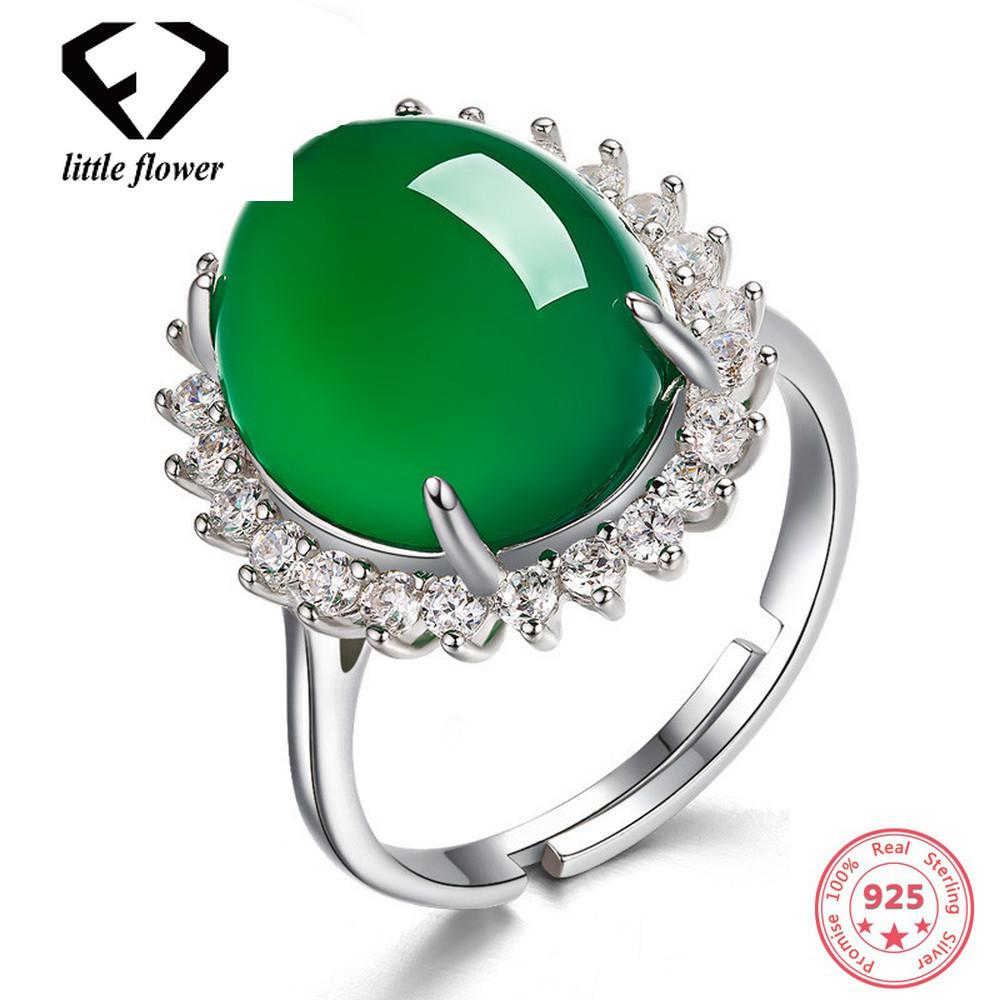 Silver Color S925 Emerald Jade Rings Green Chalcedony Gemstone jewelry Turquoise Oval for Women Jade anillos de bizuteria rings