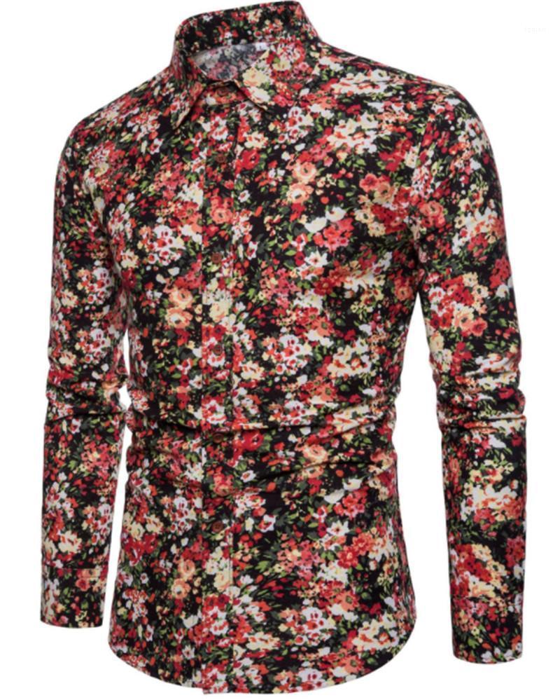 Gençlik Tasarımcı Erkek Giyim Çiçek Baskı Casual Gömlek Sonbahar İnce Uzun Kollu Düğme Erkek Gömlek Mens
