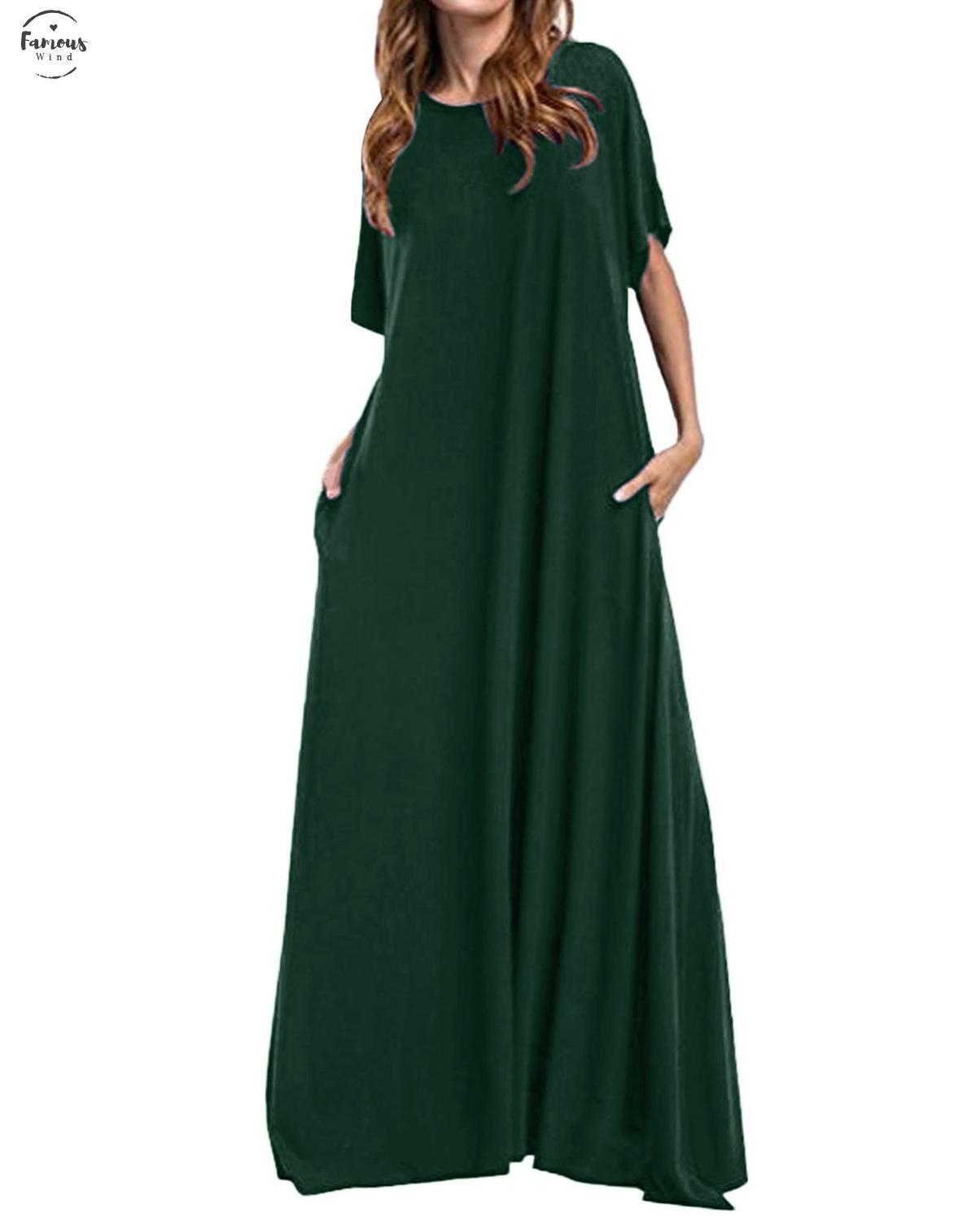 بالإضافة إلى فستان (ماكسي) ذو الحجم الطويل عام 2020 النساء نصف أكمام صلبة حول الرقبة الكلاسيكية العتيقة الطويلة الراقية (بوديكون فيستيدوس)