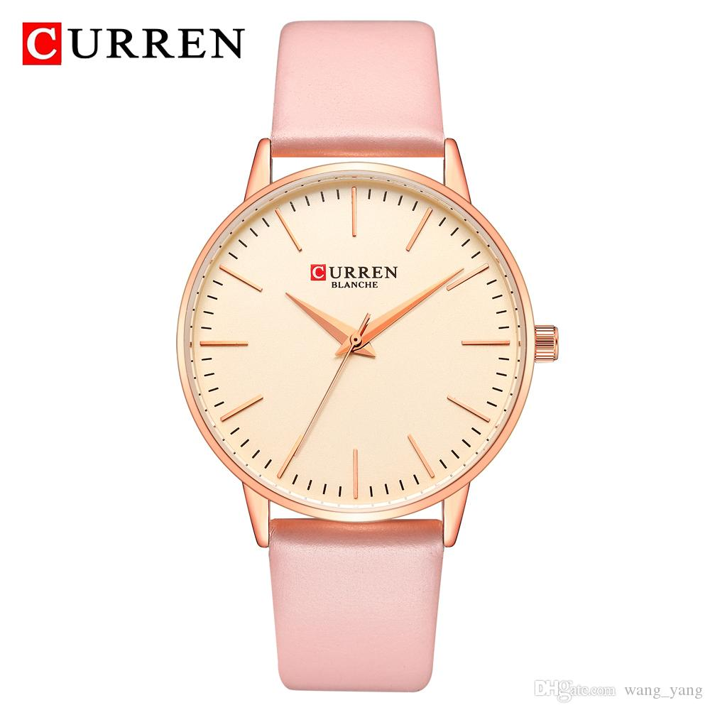 CURREN Women Watches Fashion Ladies Dress Watch Leather Band Analog Alloy Quartz Wrist Watch Relogio Feminino