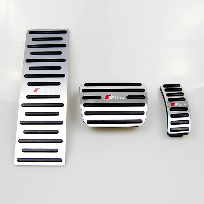 Aucun forage en alliage d'aluminium de voiture repose-pieds Tapis de pédales Couvrir avec pédales Rest Fit Gas Rest pédale de frein pour Q5 Audi A4 A5 A6 AT LHD avec Sline Logo