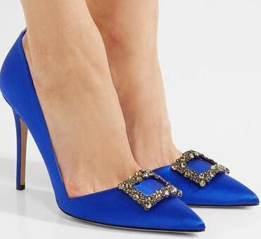 Wed2019 Blue Ma'am Satin Face Sharp codificará alto con un solo zapato Chengdu Goods