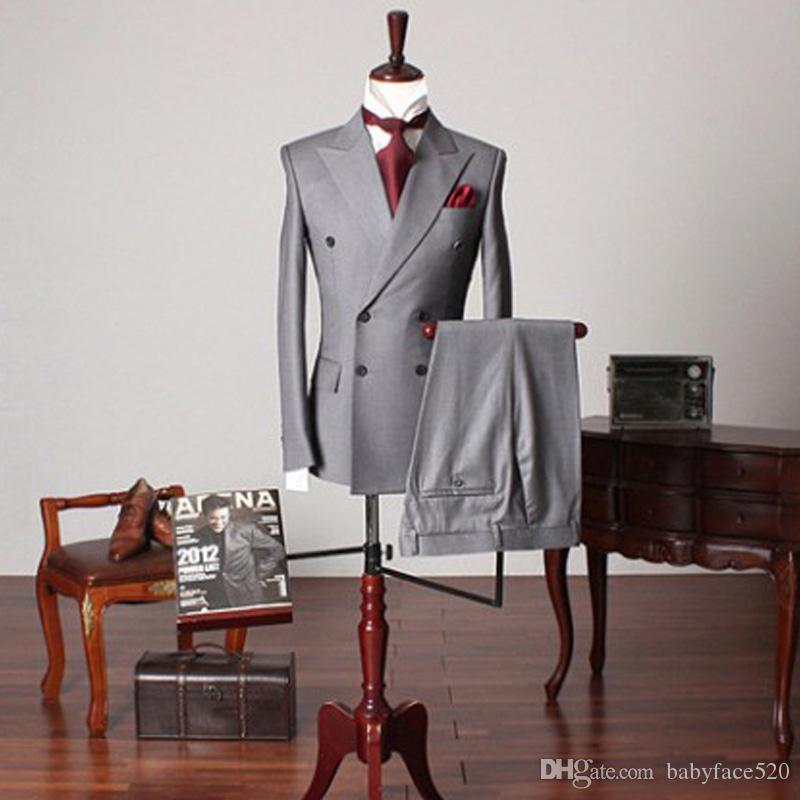 Grau-Geschäfts-formale Mann-Klagen zweireihiger spitzen Revers nach Maß Hochzeits-Bräutigam-Smoking Zweiteilige Jacke Hosen