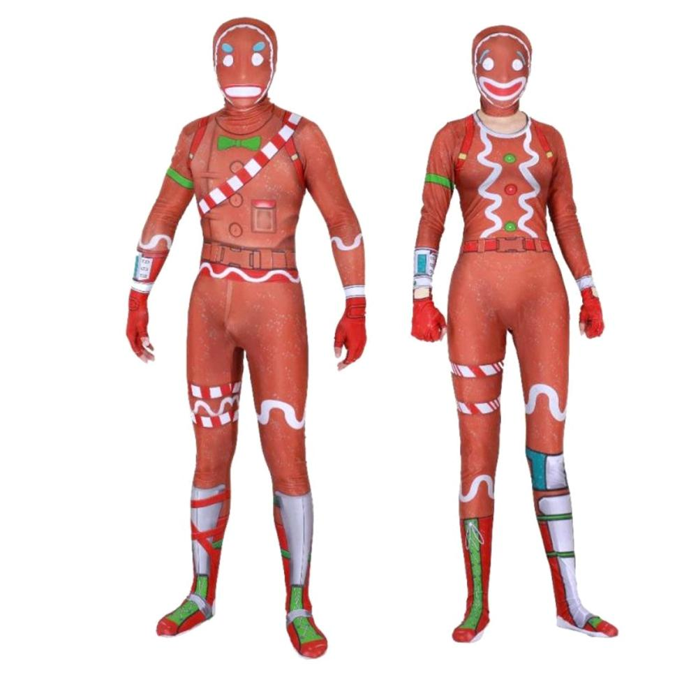 Kids Man Gingerbread Cosplay Costume Party Halloween Christmas Costume Jumpsuits