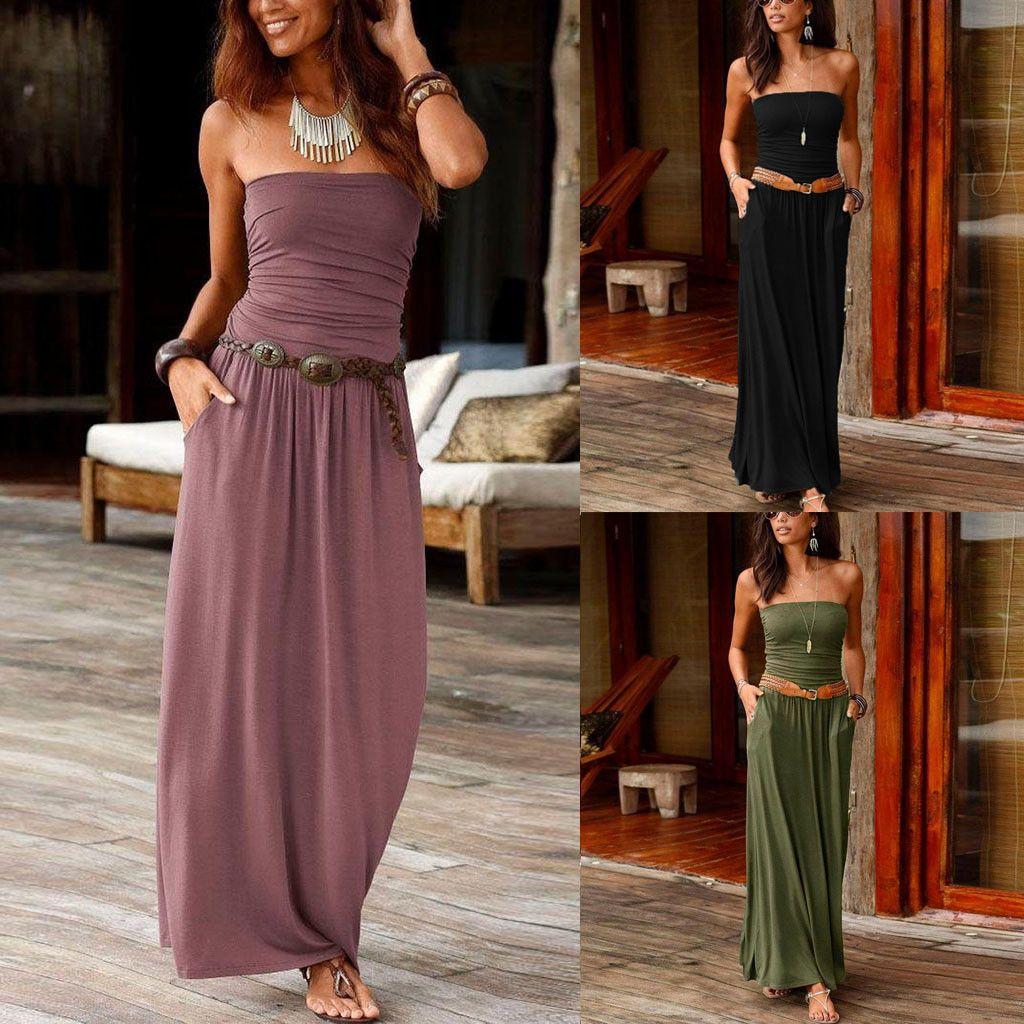 Maxi Dress Tube Top Womens Bandeau Holiday Off Shoulder Long Dress Ladies Summer New Fashion Solid Sundress Vestidos Robe Femme Y200101