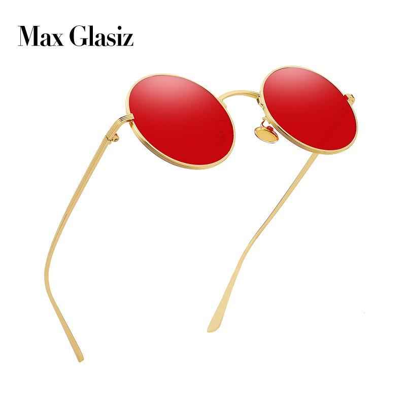 Max glasiz Vintage-Sonnenbrillen Frauen Retro runde Brille Gelb Lense Metallrahmen Gläser Beschichtung Brillen gafas de sol mujer T200106