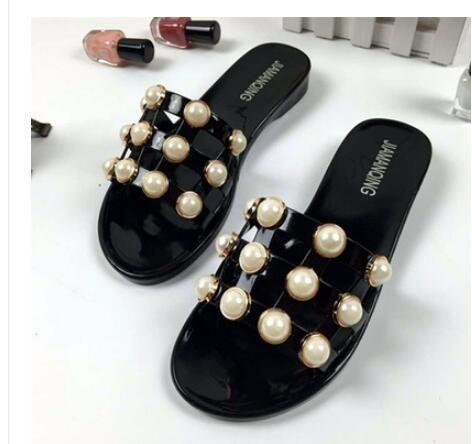 Женские летние сандалии, Корейские моды, персонализированные жемчужные тапочки, женская одежда 2019 новой плоскодонные анти обувь скольжения