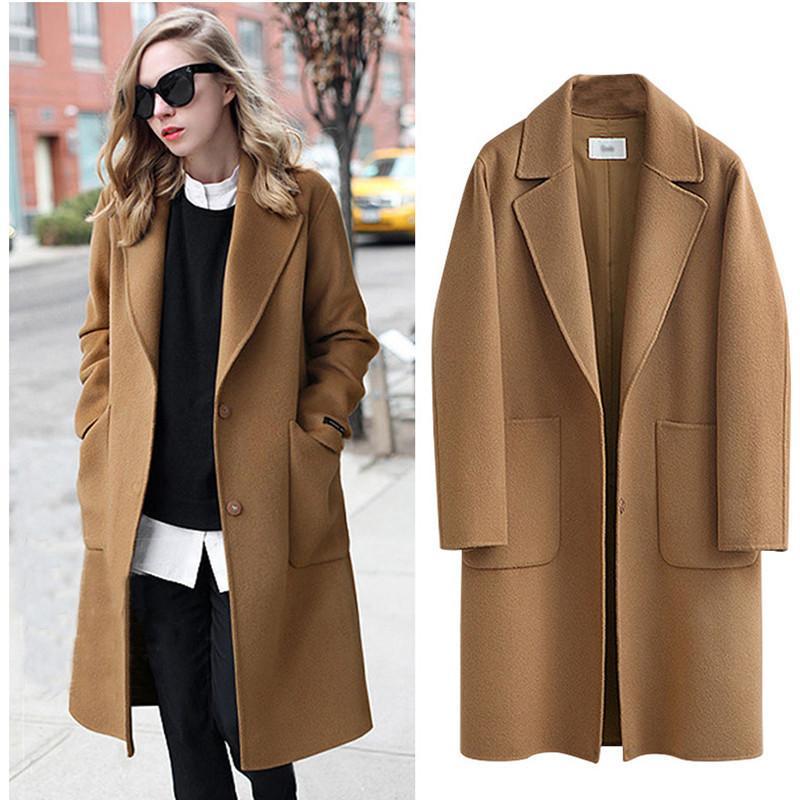 Winter Coats Women 2018 Women Vintage Loose Coat Fashion Korean Style Wool Long Coat Warm Slim