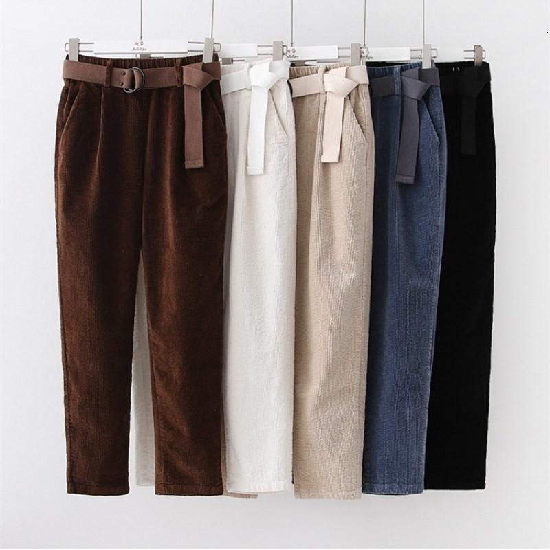 Pantalones de pana Harem Otoño Invierno pantalones de las mujeres elásticos de la cintura Fajas Casual Pantalones negros pantalones de mujer cintura alta V191109