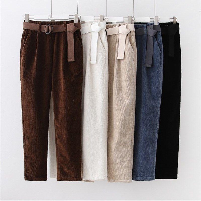 Pantalon en velours côtelé Sarouel Automne Hiver femme Pantalons taille élastique Jupettes pantalon noir Casual Pantalones Mujer Cintura alta V191109