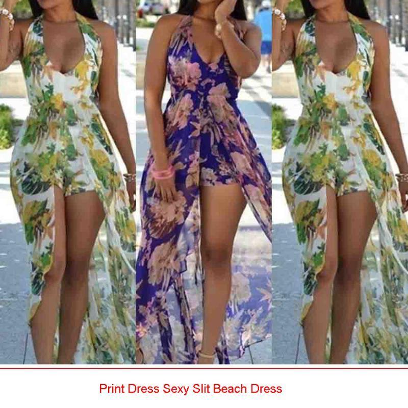 Sexy Slit Beach Dress Summer Dress Strap Deep V Neck High Waist Beach Dresses Women Slit Backless Long