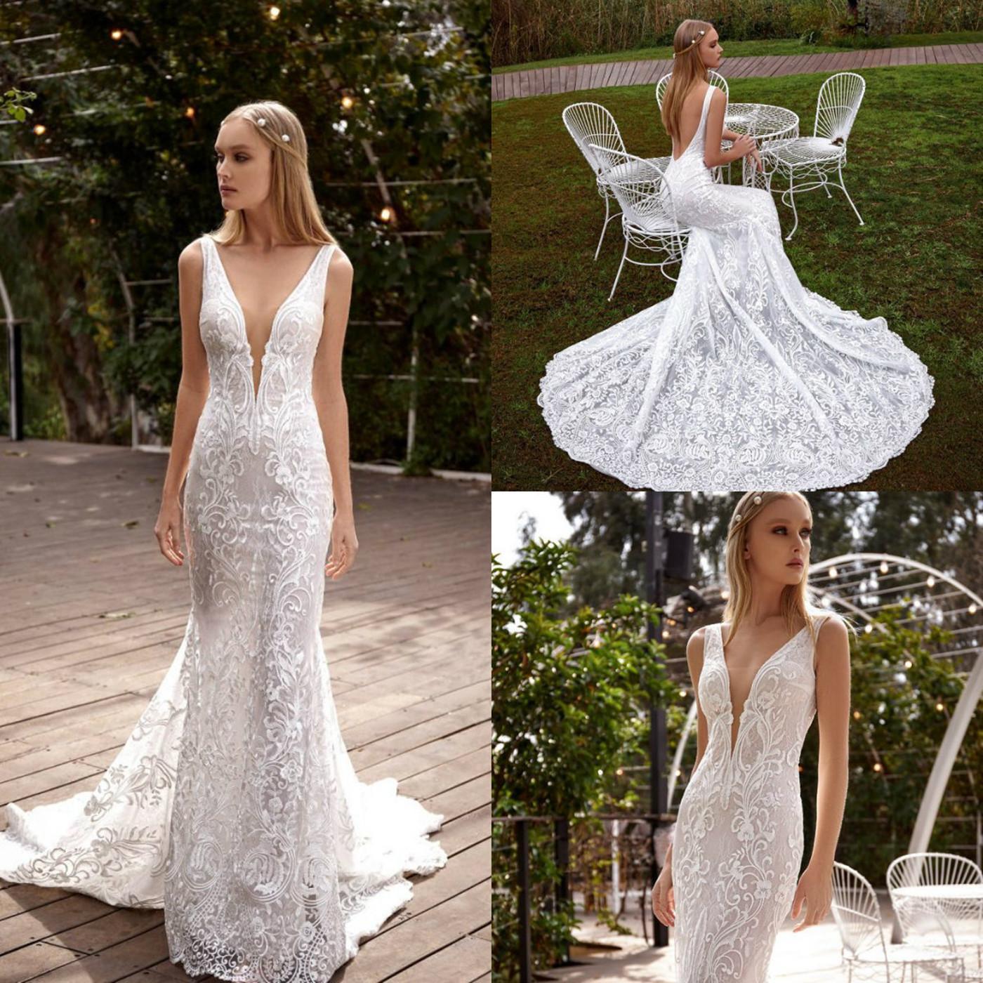 Julie Vino Русалка свадебные платья V-образные кружевные аппликации бисеров свадебные платья 2020